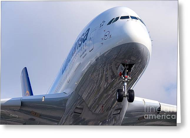 Lufthansa Greeting Cards - The Front Office Lufthansa Airbus A-380 Greeting Card by Rene Triay Photography