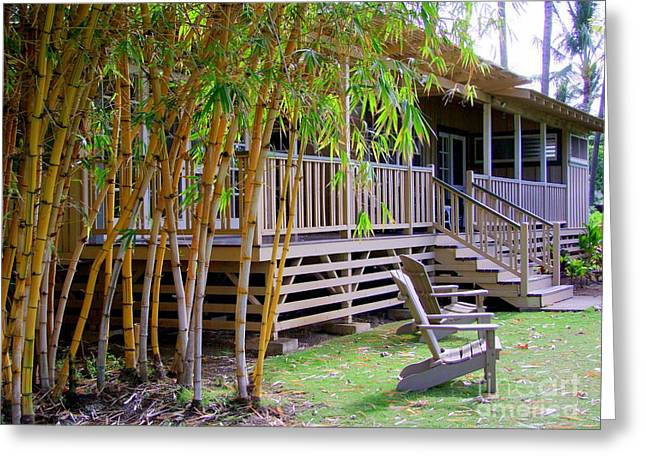 Bamboo House Greeting Cards - The Front Yard Greeting Card by Mary Deal