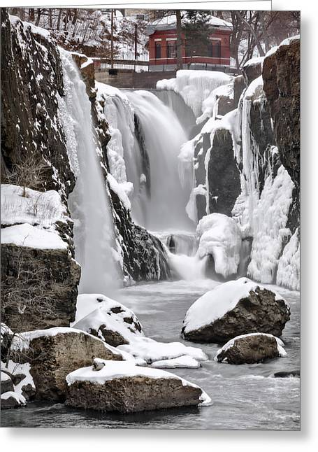 Clear Fall Day Greeting Cards - The Frozen Falls Greeting Card by Eduard Moldoveanu