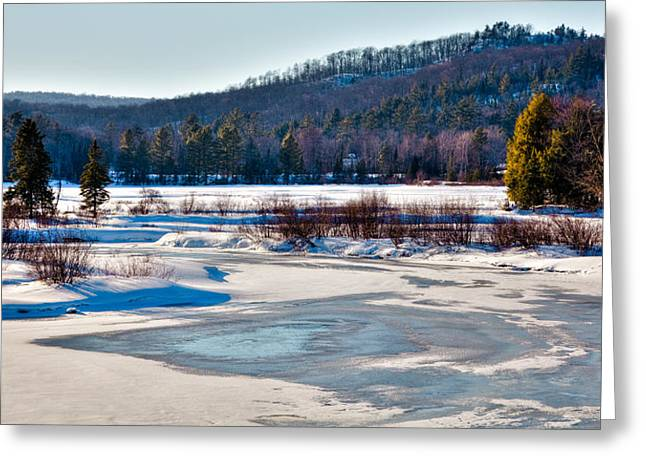 Aderondacks Greeting Cards - The Frozen Moose River II - Old Forge New York Greeting Card by David Patterson