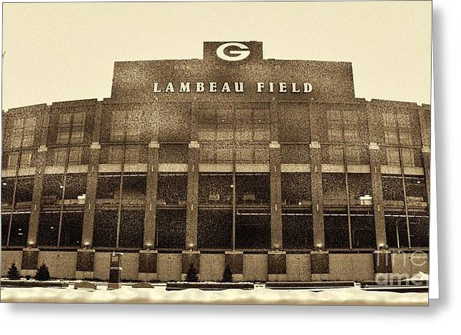 Lambeau Greeting Cards - The Frozen Tundra Greeting Card by Tommy Anderson