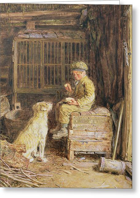 Charity Paintings Greeting Cards - The Frugal Meal Greeting Card by William Henry Hunt