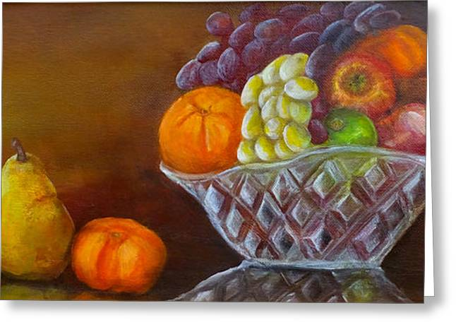 Tangerine Greeting Cards - The Fruit Bowl Greeting Card by Kate Lomax