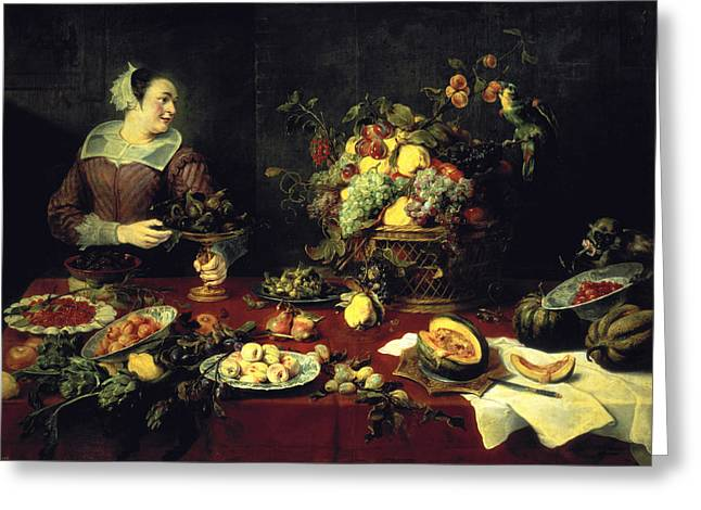 Melon Greeting Cards - The Fruit Bowl Oil On Canvas Greeting Card by Frans Snyders or Snijders