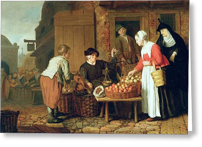 Scale Greeting Cards - The Fruit Seller Greeting Card by Victors