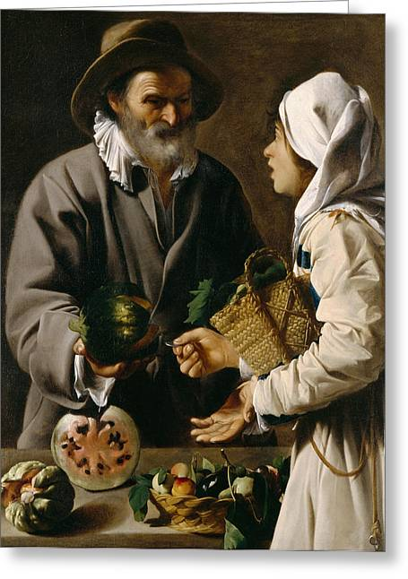 Conversing Paintings Greeting Cards - The Fruit Vendor Greeting Card by Pensionante de Saraceni