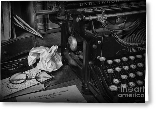 Typewriter Keys Photographs Greeting Cards - The Frustrated Writer Greeting Card by Paul Ward