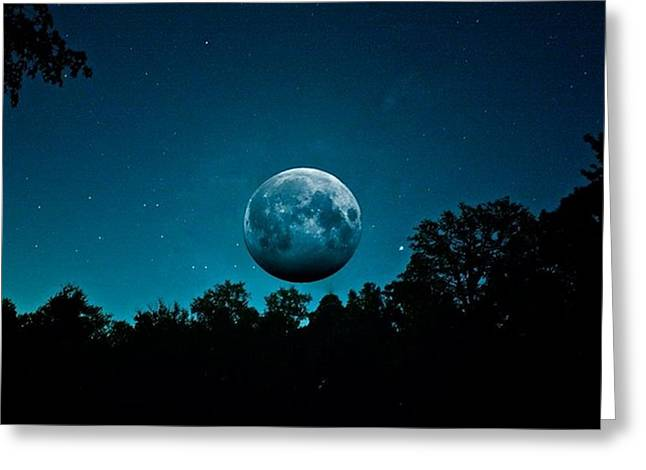 Setting Framed Prints Greeting Cards - The Full Harvest Moon Greeting Card by Brandon Lacrosse
