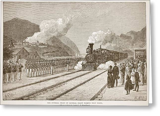 Honour Greeting Cards - The Funeral Train Of General Grant Greeting Card by Alfred R. Waud