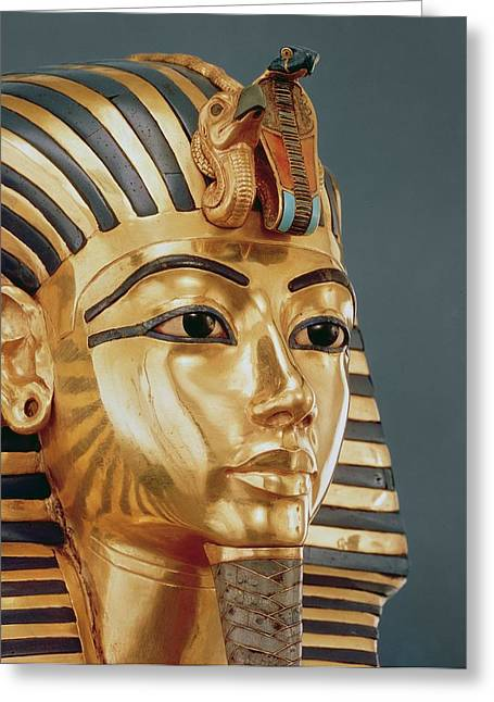 Pharaoh Ceramics Greeting Cards - The funerary mask of Tutankhamun Greeting Card by Unknown