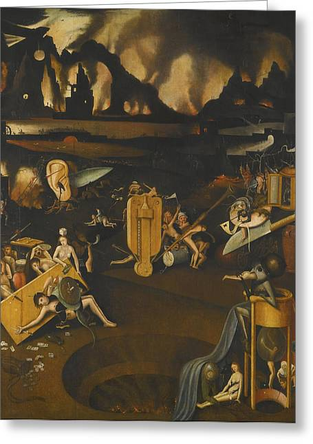 The Followers Greeting Cards - The Furnace Of Hell Greeting Card by Follower Of Hieronymus Bosch