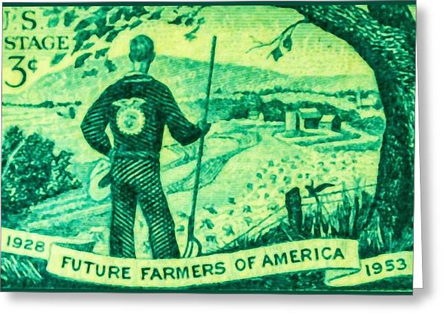 1950s Portraits Paintings Greeting Cards - The Future Farmers of America stamp Greeting Card by Lanjee Chee