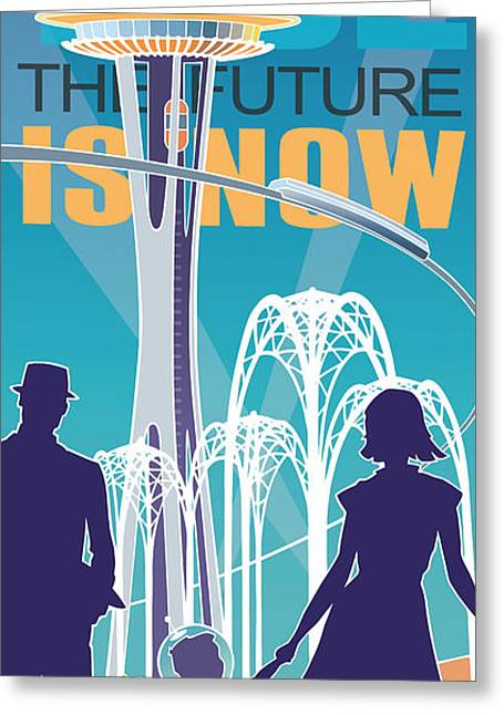 Silk Screen Greeting Cards - The Future is Now - daytime Greeting Card by Larry Hunter