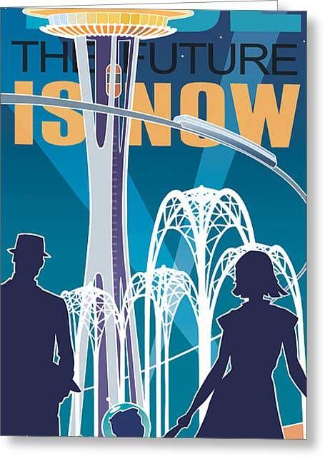 Silk Screen Greeting Cards - The Future is Now - night time Greeting Card by Larry Hunter