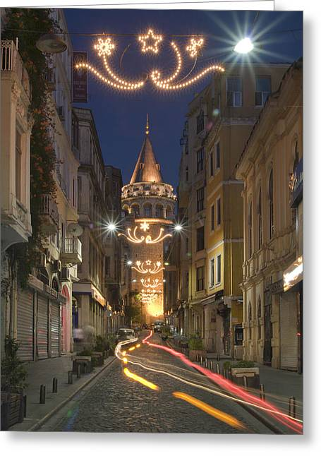 Genoese Greeting Cards - The Galata Tower Greeting Card by Ayhan Altun