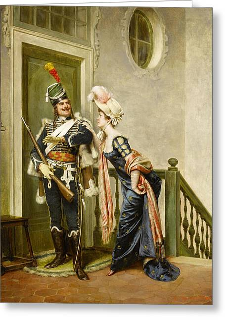 Historically Significant Greeting Cards - The Gallant Officer Greeting Card by Frederick Soulacroix