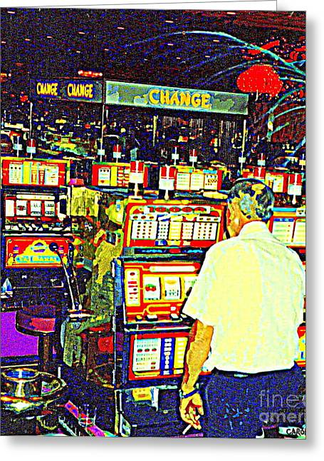 Take A Chance Greeting Cards - The Gambler Meets The One Armed Bandit In Casino Royale Standoff At High Noon Urban Casino Art Scene Greeting Card by Carole Spandau