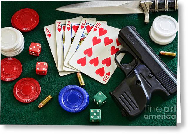 Craps Greeting Cards - The Gambler Greeting Card by Paul Ward