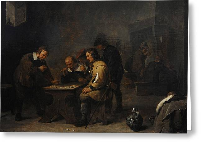 1640 Greeting Cards - The Gamblers, C. 1640, By David Teniers The Younger 1610-1690 Greeting Card by Bridgeman Images