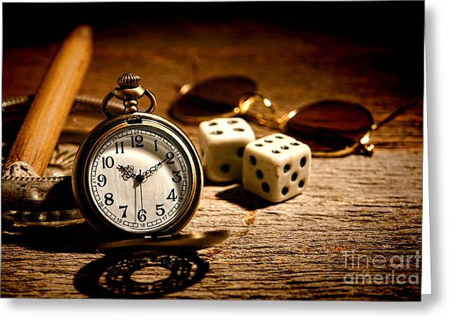 Pocket Watch Greeting Cards - The Gamblers Watch Greeting Card by Olivier Le Queinec