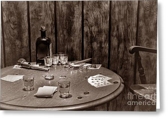 The Gambling Table Greeting Card by American West Legend By Olivier Le Queinec