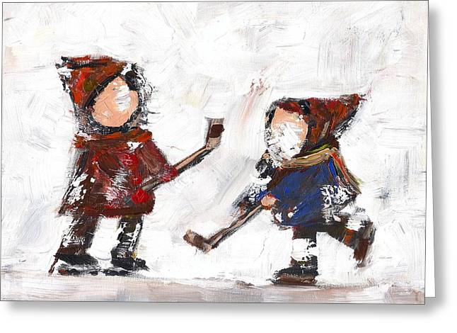 Hockey Paintings Greeting Cards - The Game Greeting Card by David Dossett