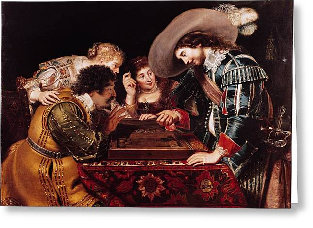 Concentrating Greeting Cards - The Game Of Backgammon Oil On Canvas Greeting Card by Cornelis de Vos