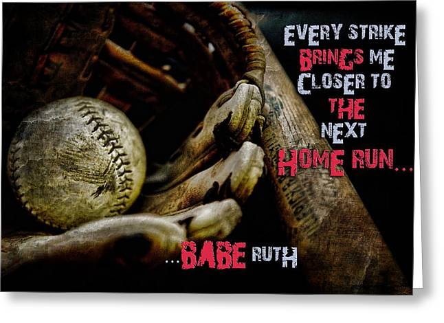 American Icon Babe Ruth Greeting Cards - The Game with The Babe Greeting Card by Evie Carrier