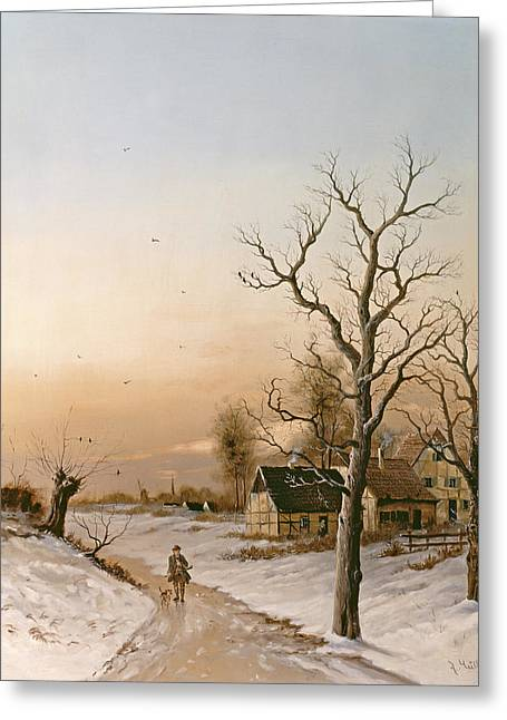 The Gamekeeper Going Home Greeting Card by F Muller