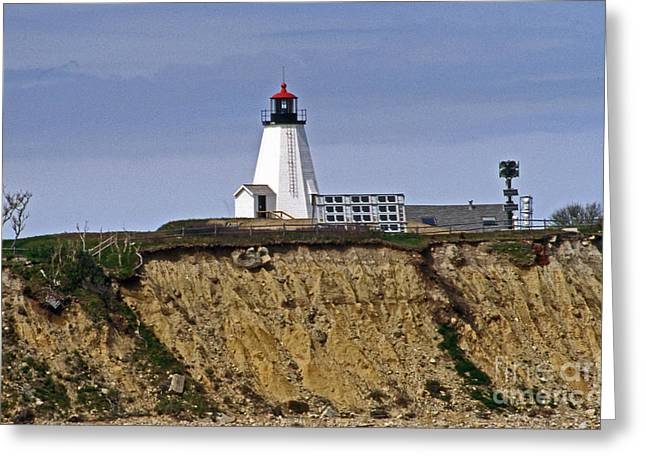 Maine Beach Greeting Cards - The Gannet Lighthouse Greeting Card by Skip Willits
