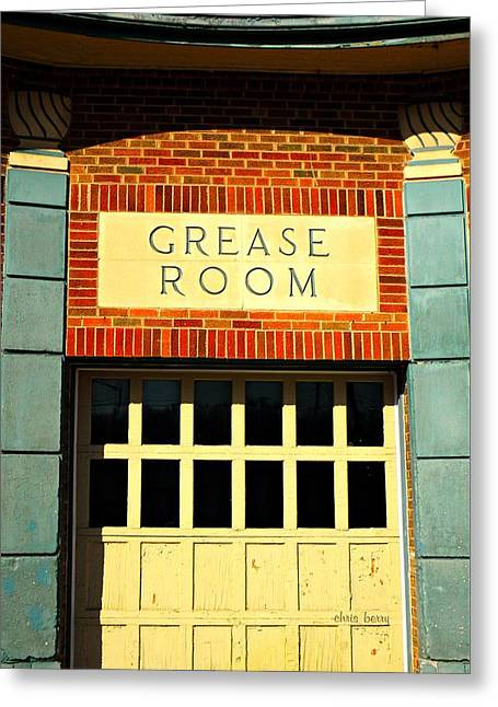 The Garage Greeting Card by Chris Berry