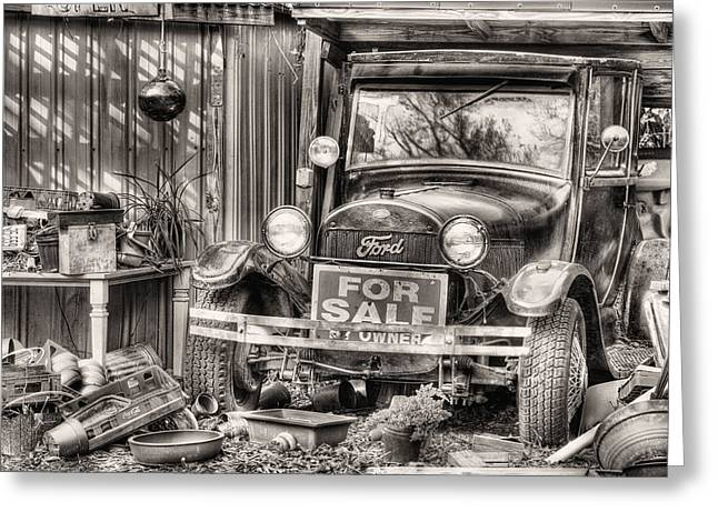 Best Sellers -  - Ford Model T Car Greeting Cards - The Garage Sale Black and White Greeting Card by JC Findley