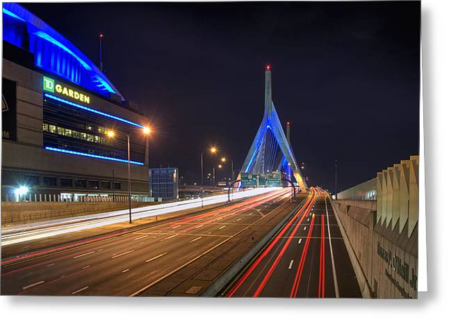 Td Garden Greeting Cards - The Garden and the Zakim Greeting Card by Joann Vitali