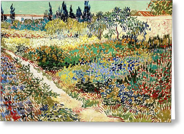 Blooming Paintings Greeting Cards - The Garden At Arles, 1888 Greeting Card by Vincent van Gogh