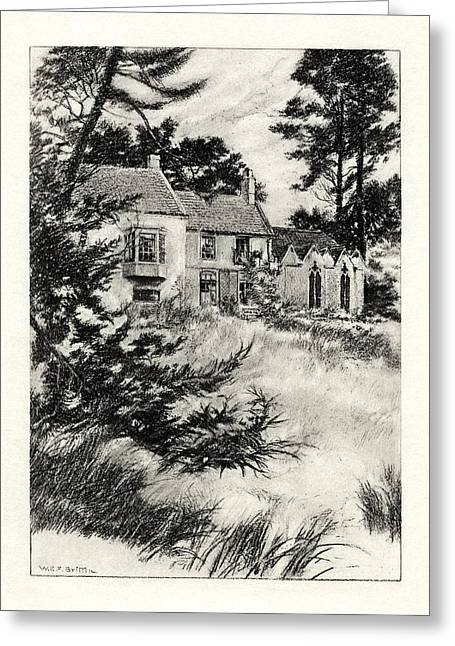 1916 Drawings Greeting Cards - The Garden at Somersby Rectory Greeting Card by Celestial Images