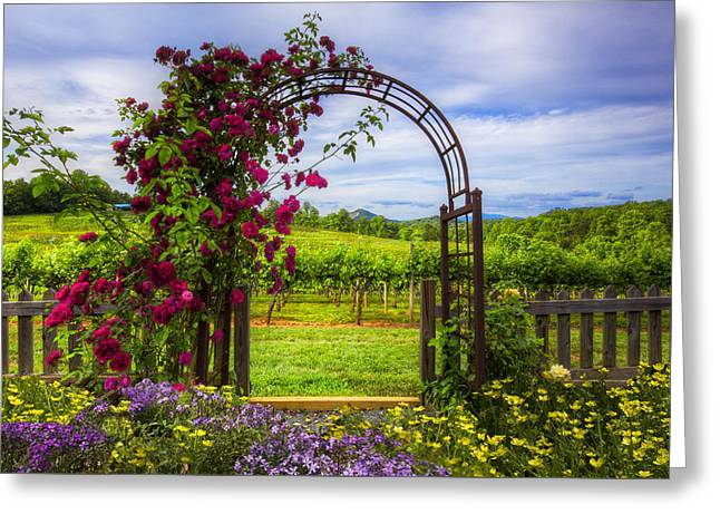 The Garden At The Winery Greeting Card by Debra and Dave Vanderlaan