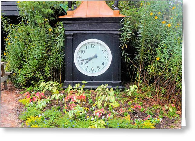 The Garden Clock Greeting Card by Tom Zukauskas