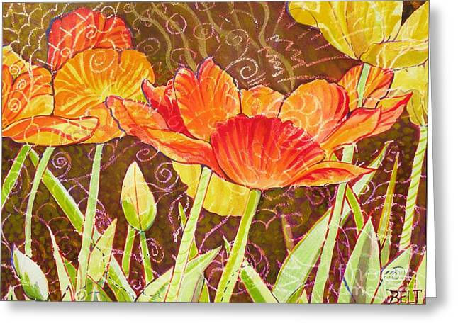 Christine Belt Greeting Cards - The Garden Dance Greeting Card by Christine Belt