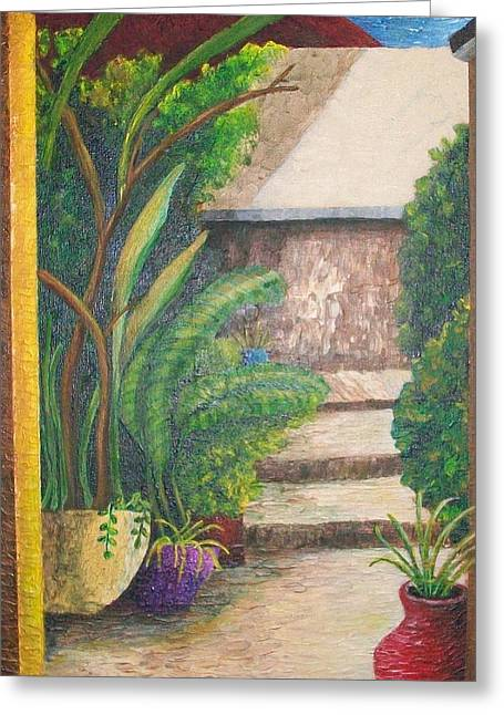 Entryway Paintings Greeting Cards - The Garden Entry Greeting Card by Dixie Lee Hedrington