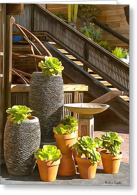 Wooden Stairs Greeting Cards - The Garden Gallery Morro Bay California Greeting Card by Barbara Snyder