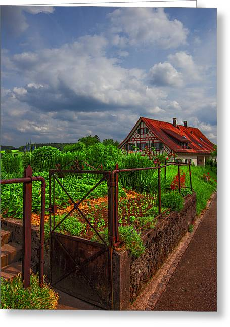Swiss Photographs Greeting Cards - The Garden Gate Greeting Card by Debra and Dave Vanderlaan
