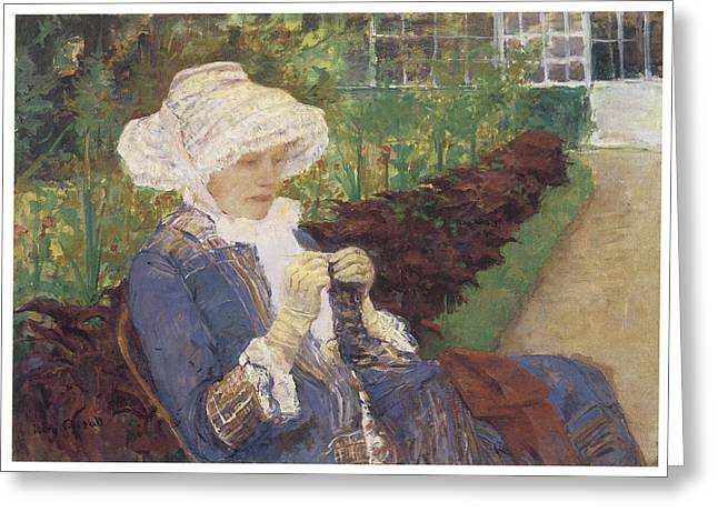 Woman In A Dress Greeting Cards - The Garden Greeting Card by Mary Cassatt