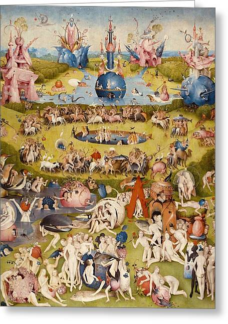 Moral Greeting Cards - The Garden of Earthly Delights - central panel Greeting Card by Hieronymus Bosch