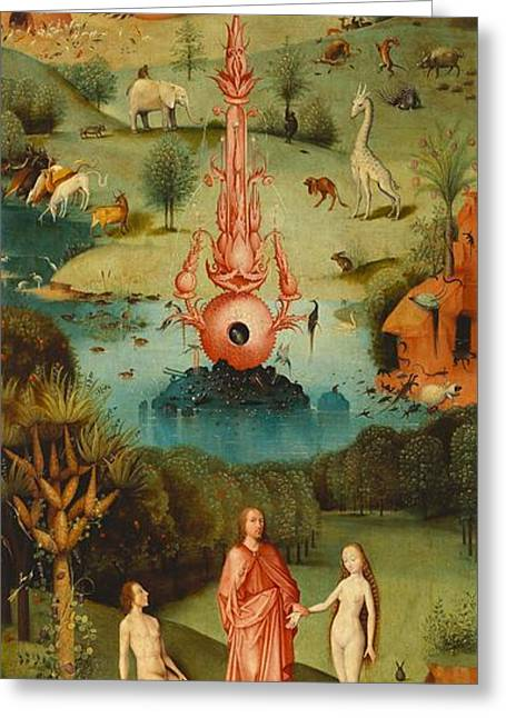 Moral Greeting Cards - The Garden of Earthly Delights - left wing Greeting Card by Hieronymus Bosch