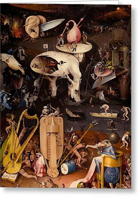 Moral Greeting Cards - The Garden of Earthly Delights - right wing Greeting Card by Hieronymus Bosch
