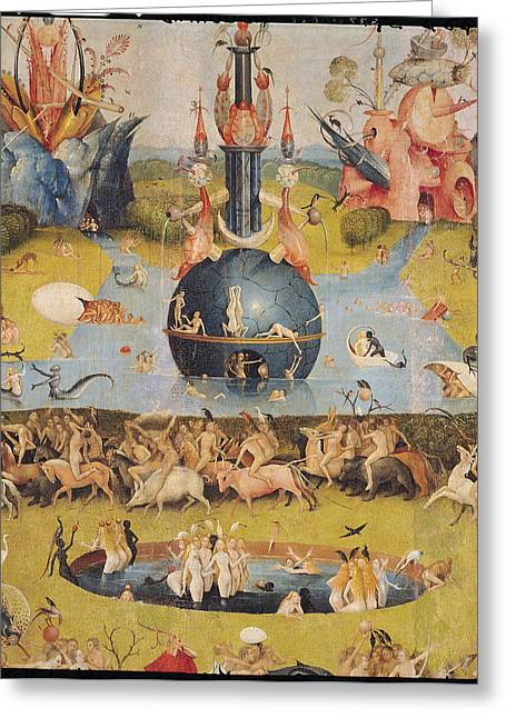 Fantasy Creature Photographs Greeting Cards - The Garden Of Earthly Delights Allegory Of Luxury, Detail Of The Central Panel, C.1500 Oil On Panel Greeting Card by Hieronymus Bosch