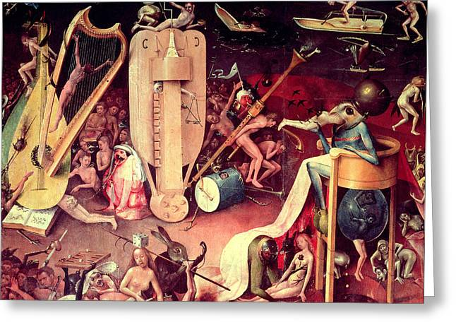 Evil Photographs Greeting Cards - The Garden Of Earthly Delights Hell, Detail From The Right Wing Of The Triptych, C.1500 Oil Greeting Card by Hieronymus Bosch