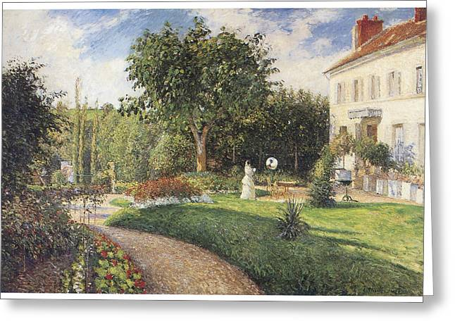 Pisarro Greeting Cards - The Garden of Les Mathurins at Pontoise Greeting Card by Camille Pissarro