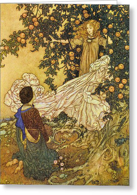 Paradise Road Greeting Cards - The Garden of Paradise III Greeting Card by Edmund Dulac