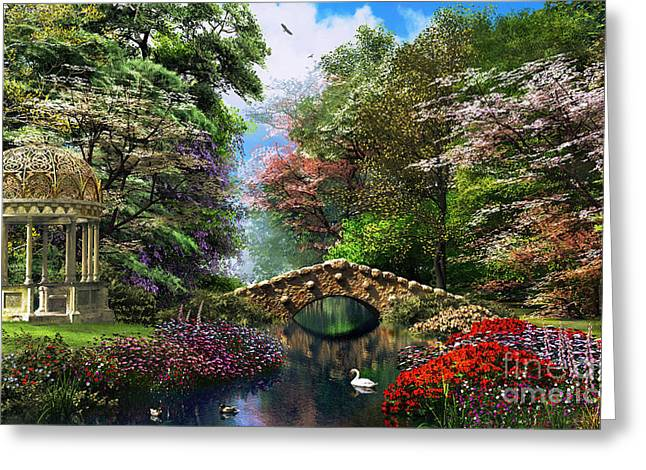Swans... Digital Art Greeting Cards - The Garden of Peace Greeting Card by Dominic Davison